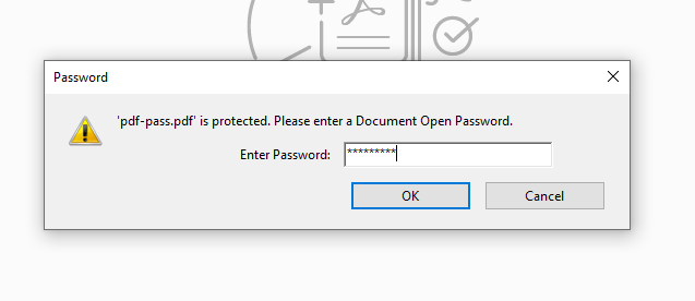PDF User Password Dialog Box