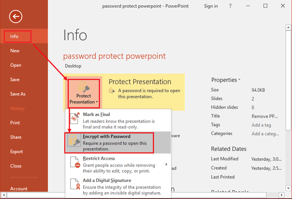 """Protect Presentation"", ""Encrypt with Password"""