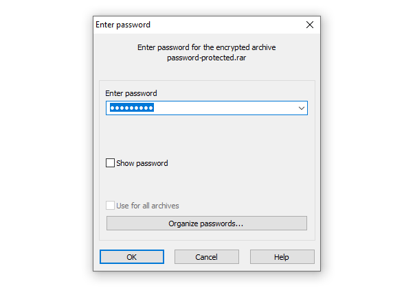 Password Recuired to Unlock a Rar File