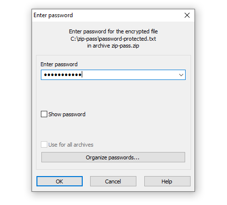 Password Recuired to Unlock a Zip File